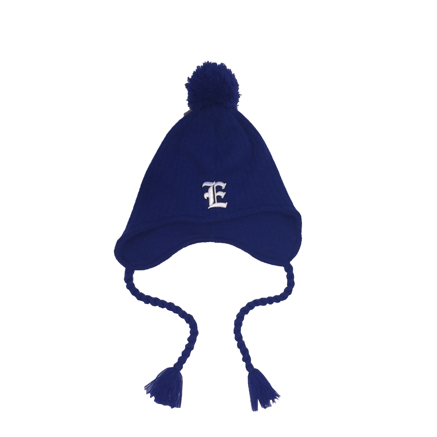"Cover Image For Knit ""E"" Hat w/ Ear Flaps - Royal"