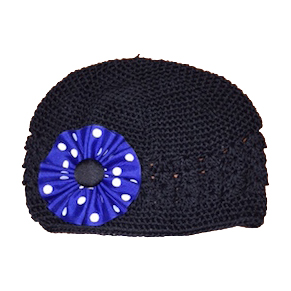 Image For Flower Beanie - Black